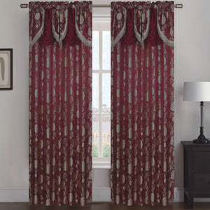 Molly Jacquard Rod Pocket Panel with Attached Valance Set of Two - Assorted Colors - Glory Home Design