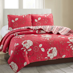 Grace 3 Piece Quilt Set - Red - Glory Home Design