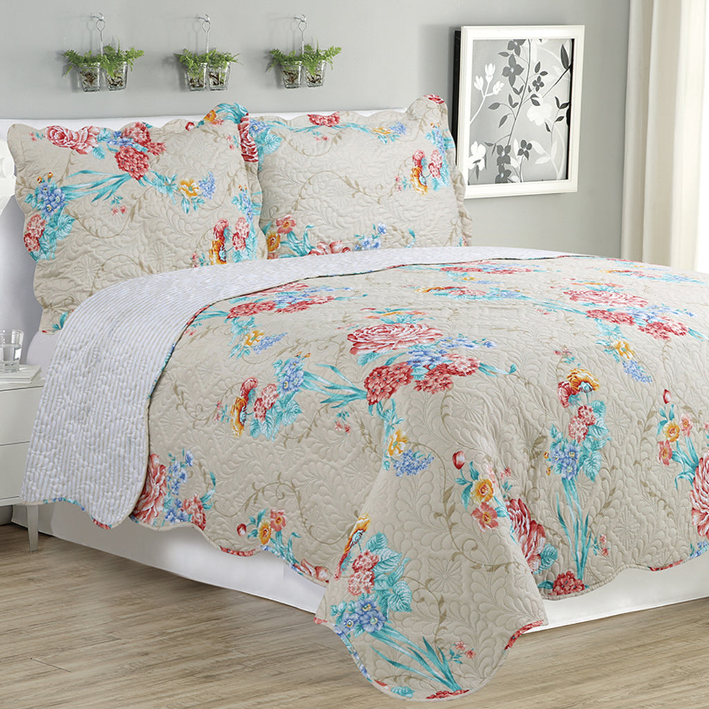 Kim - 3 Piece Quilt Set - Rose - Glory Home Design