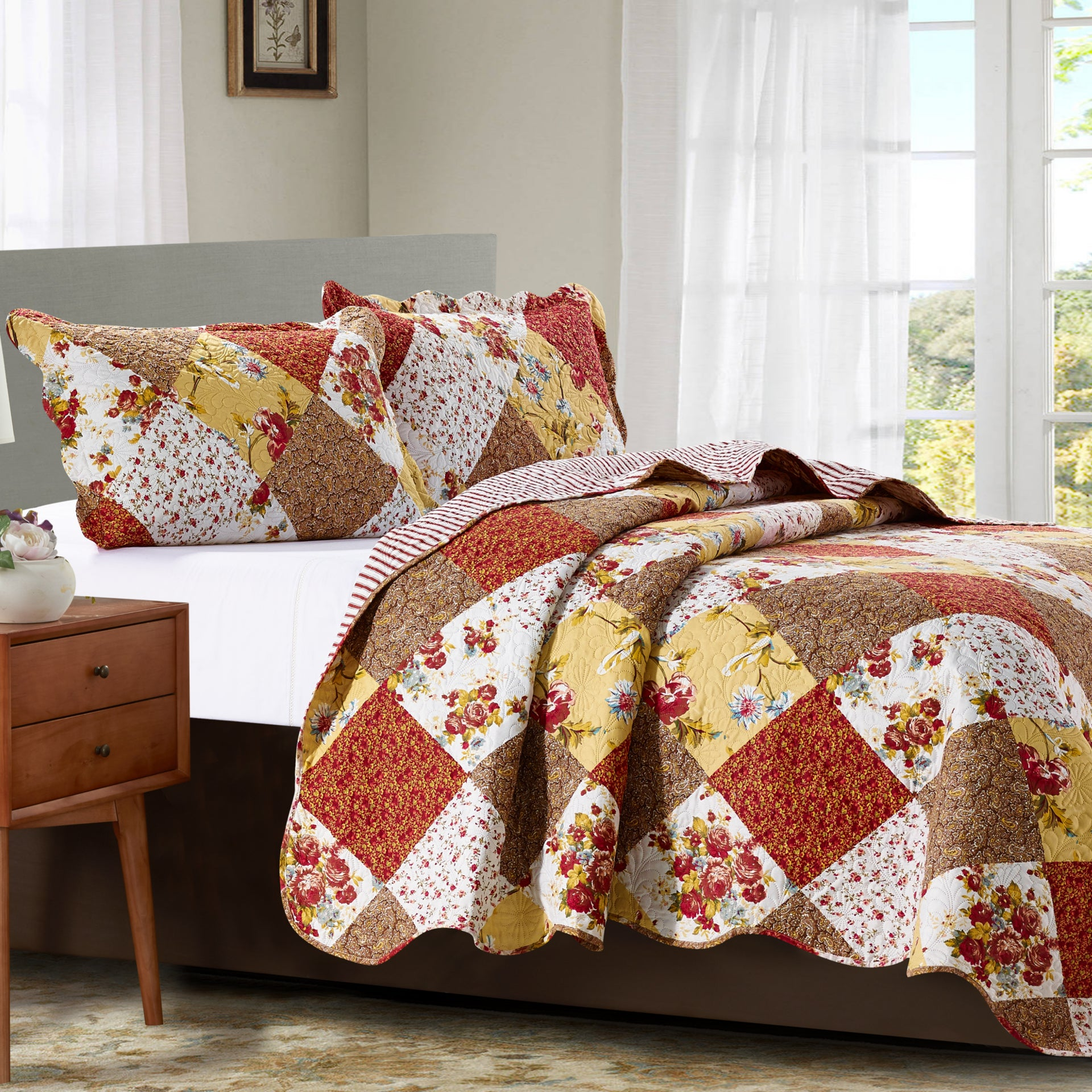 Suzy 3 Piece Quilt Set - Rust - Glory Home Design