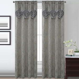 Lucia Jacquard Rod Pocket Panel with Attached Valance Set of Two - Assorted Colors - Glory Home Design