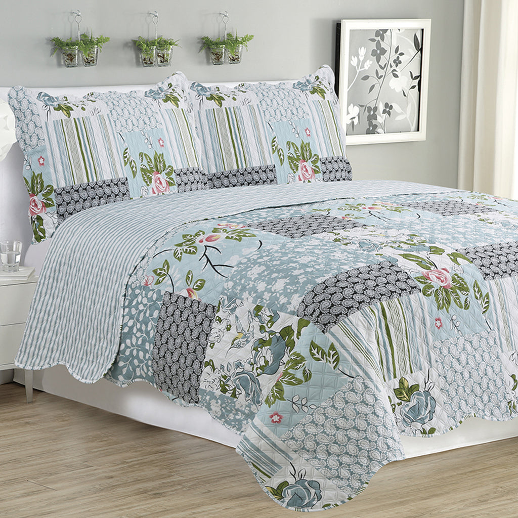 Kim - 3 Piece Quilt Set - Silver Bird Floral - Glory Home Design