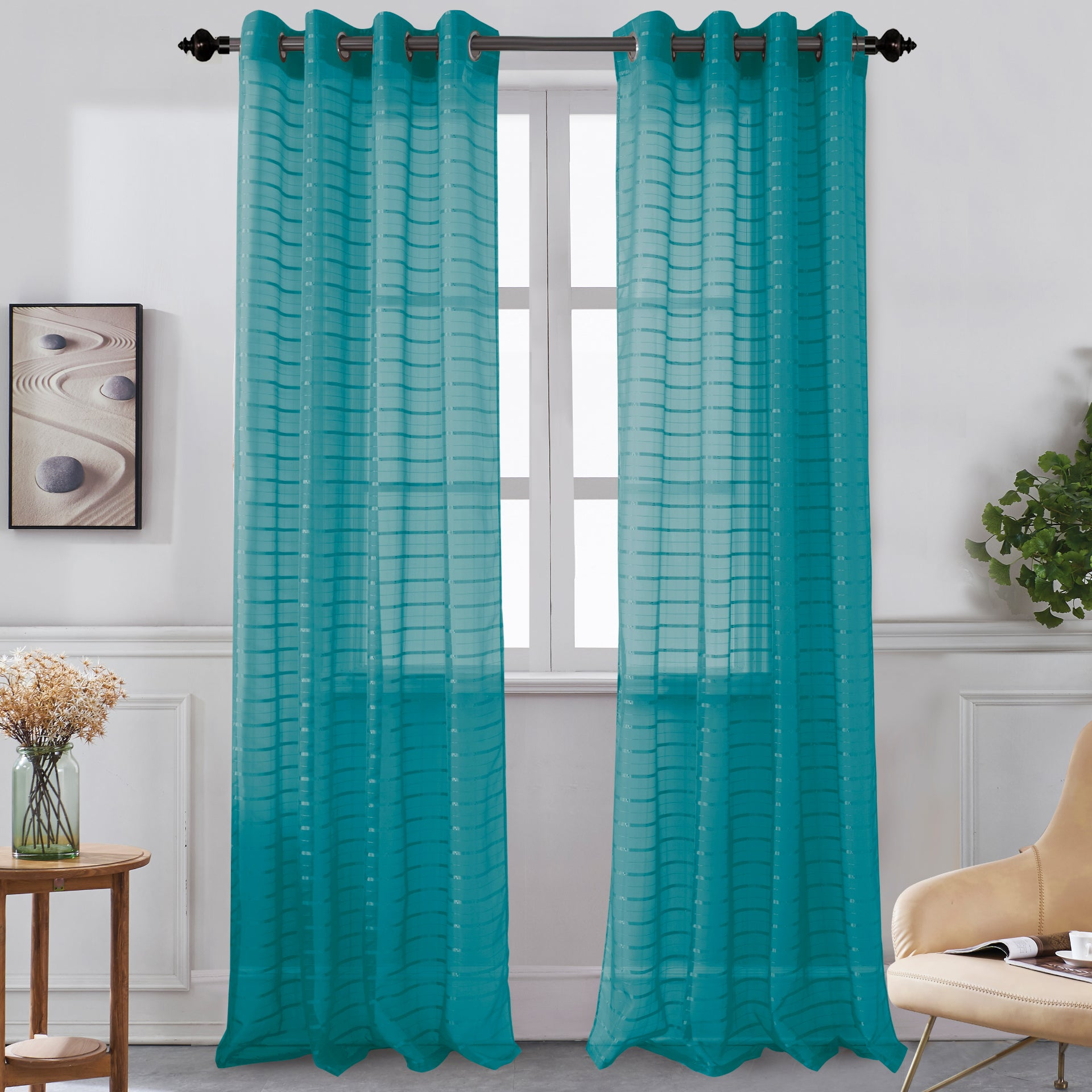 Karen - Grommet Sheer Panel - Set of Two - Assorted Colors - Glory Home Design