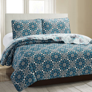 Juliet 3 Piece Quilt Set - Navy Lotus - Glory Home Design