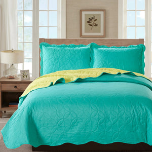 Sherry - 3 Piece - Solid Reversible Quilt Set - Turquoise - Glory Home Design