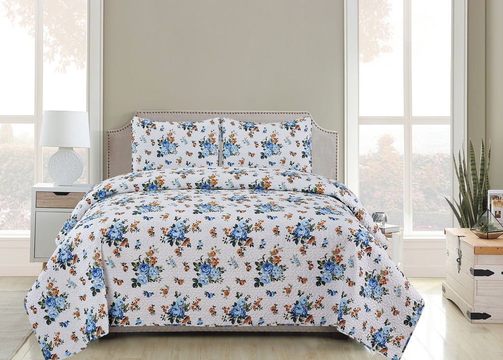 Vicky  - 3 Piece Quilt Set -Blue - Glory Home Design