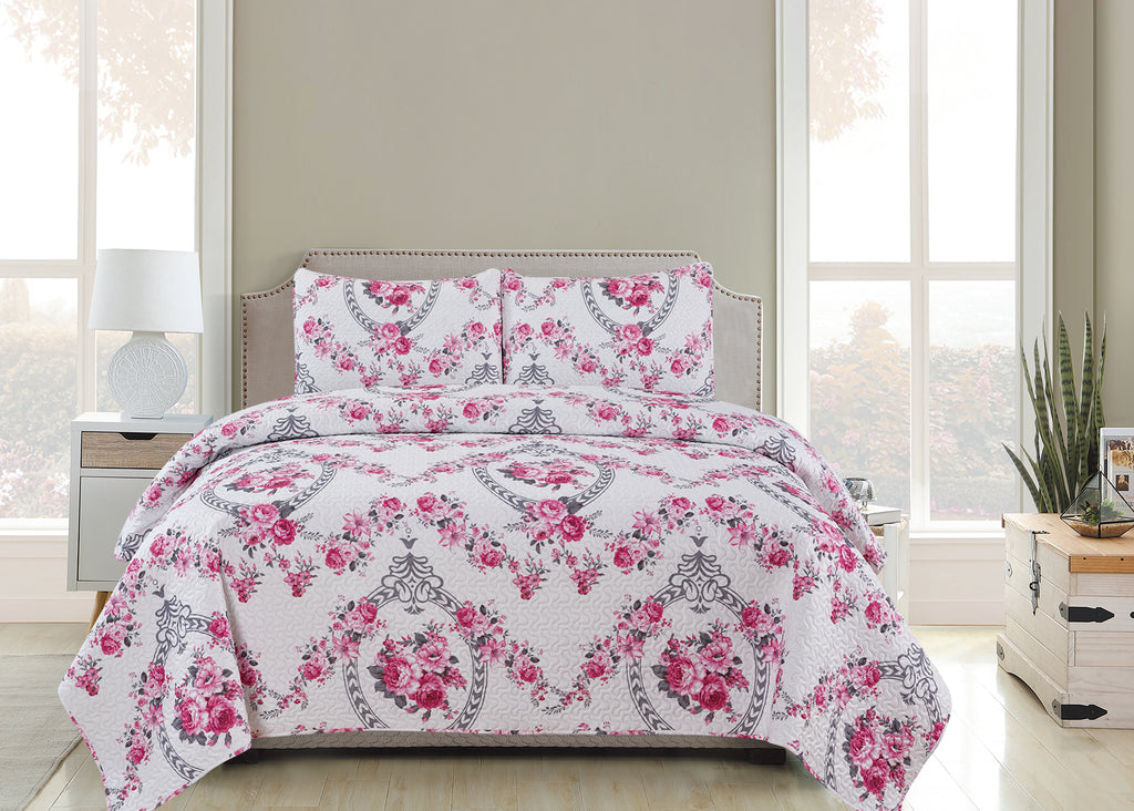 Vicky  - 3 Piece Quilt Set -Pink - Glory Home Design