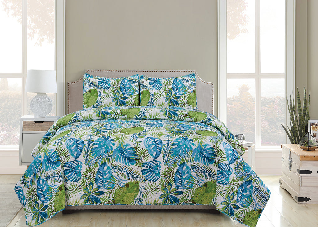 Vicky  - 3 Piece Quilt Set - Blue Sage - Glory Home Design