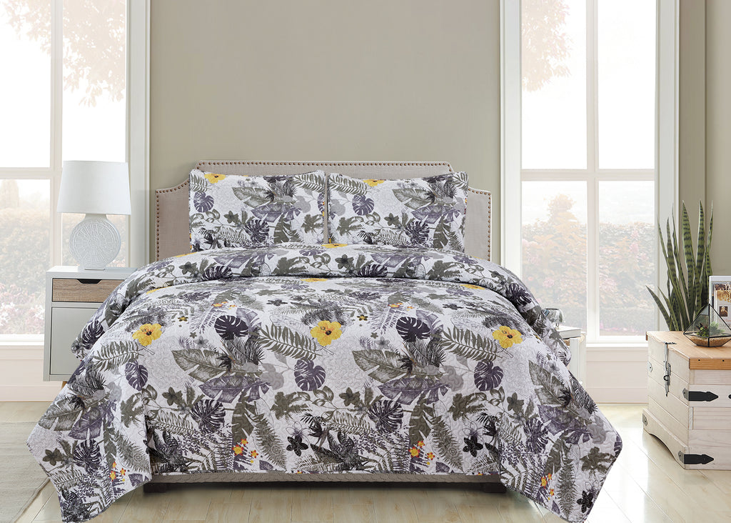 Vicky  - 3 Piece Quilt Set - Silver - Glory Home Design