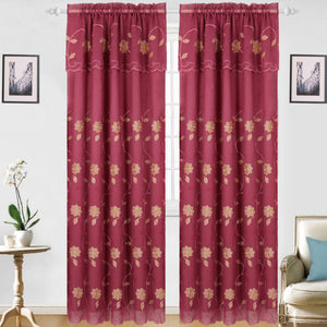 Aubrey - Snow Voile Embroidered Panel - Set of Two - Assorted Colors - Glory Home Design