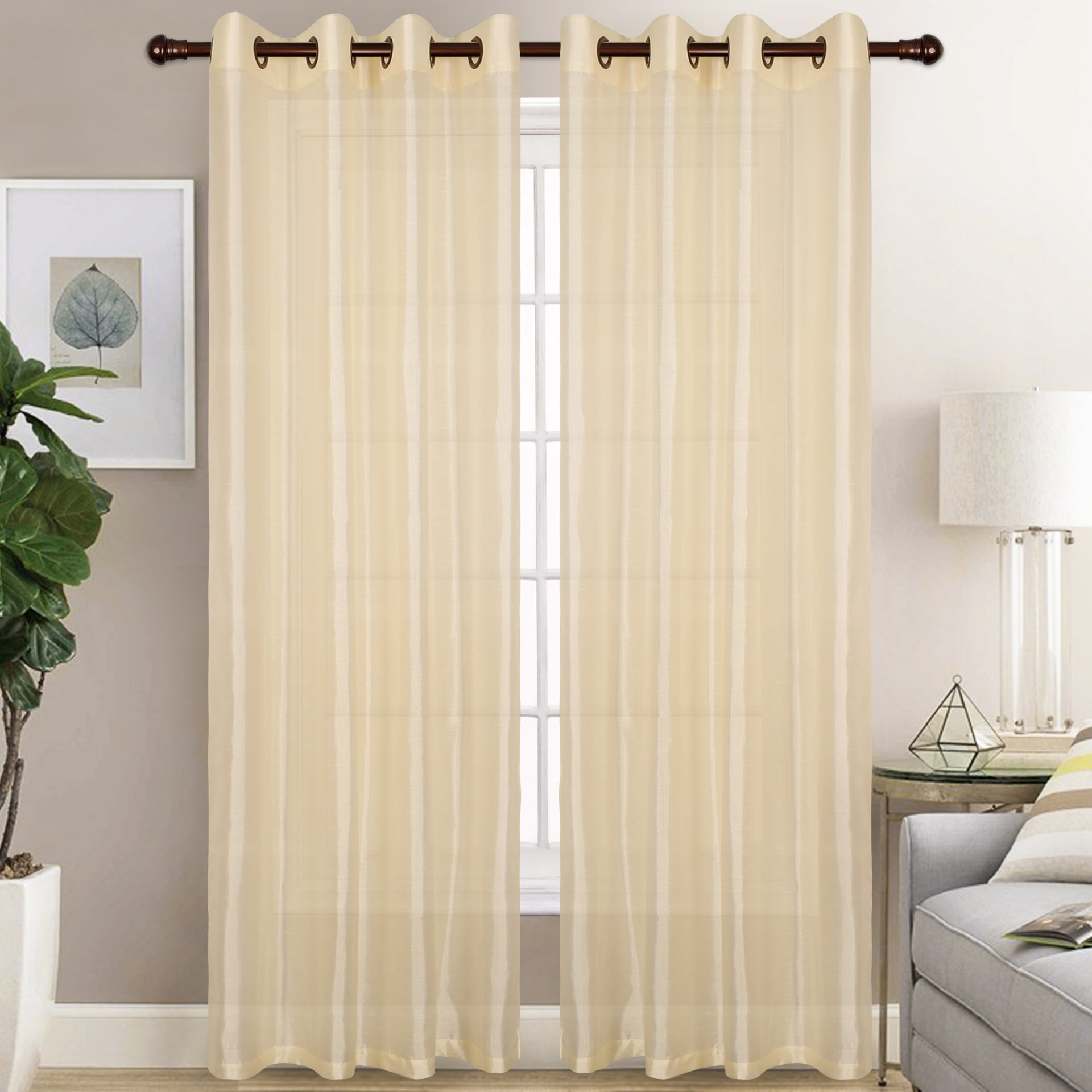 Christina - Faux Silk Semi Sheer Panel - Set of Two - Assorted Colors - Glory Home Design