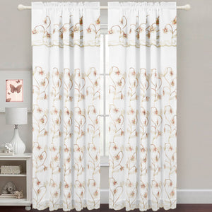 Gabriella - Snow Voile Embroidered Panel - Set of Two - Assorted Colors - Glory Home Design