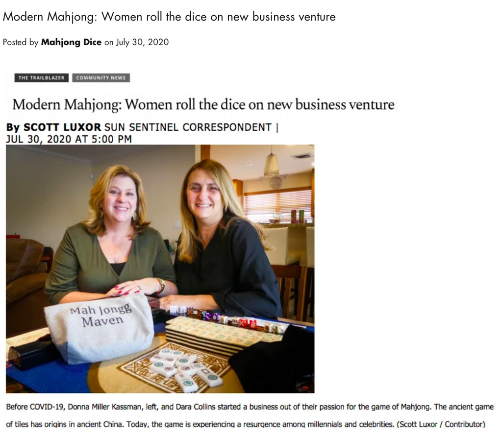 Friends roll the dice on a new business - Modern Mahjong in the Sun Sentinel