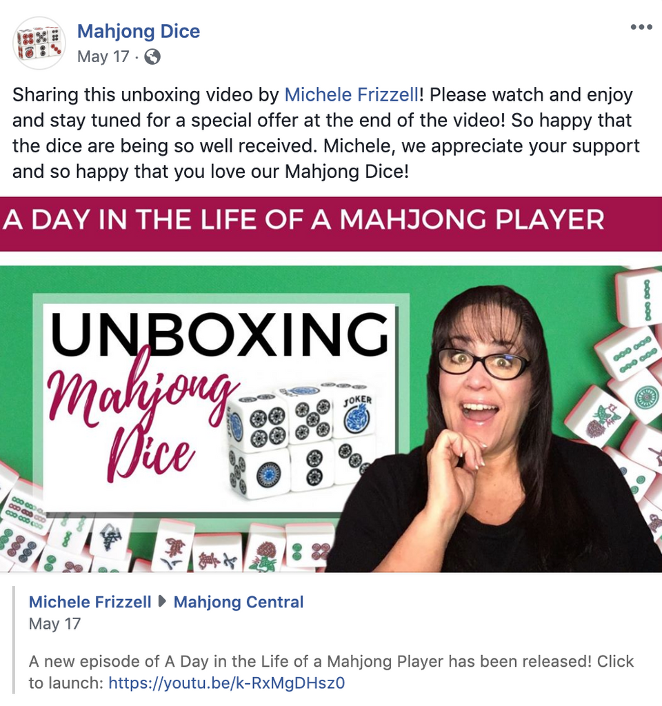 Michele Frizzell's Unboxing of Mahjong Dice™