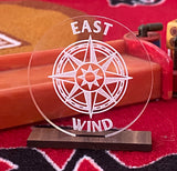 """I'm East"" - East Indicator - engraved acrylic indicator on wood display"