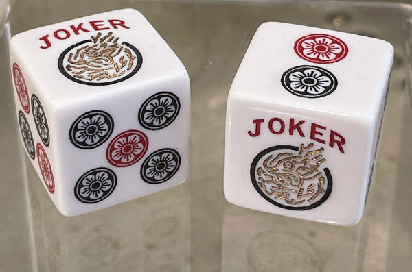 Golden Joker  - one pair of Jumbo 25mm white dice with red, black and golden accents