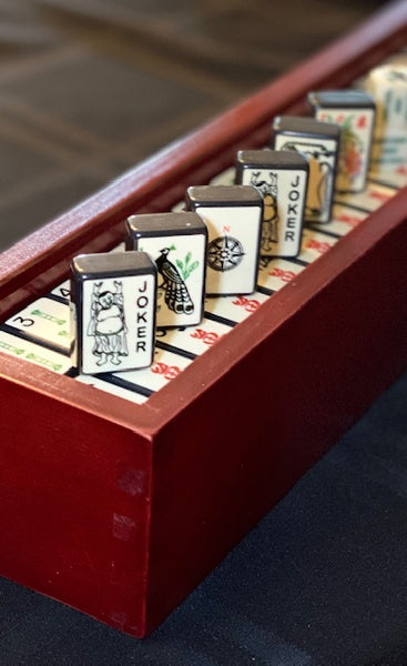 Ltd. Ed., Replica Black Enrobed Mahjong Set, Display Box, Dice Bundle (larger engraved winds)