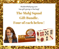 Mahj Squad Bundle; Four pairs of Mahjong Dice™, Four Versatile Mahjong Gaiters and Four East Wind Indicators