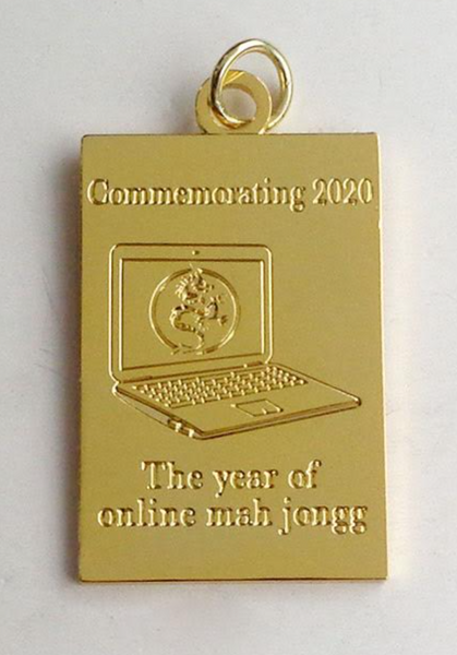 Black Friday Sale: Set of Four (Buy 3, Get 1 Free) Commemorative 2020 gold plated brass Keychain Charm: Commemorating 2020 - The year of online mah jongg (Limited Run) - SHIPPING NOVEMBER 27, 2020