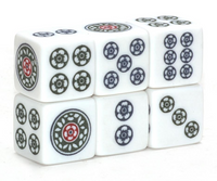 Classic Floral Jokerless Mahjong Dice™ with Green, Navy and Red Floral Dot Design