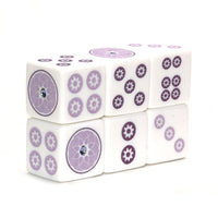 Bling & Shine to benefit Alz Association - one pair of 19 mm white dice with purple & 1 rhinestone