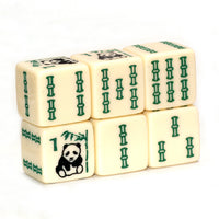Panda Bear Bamboo - one pair of ivory dice with panda bear and bam designs