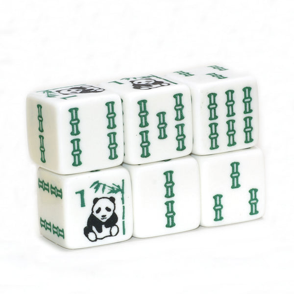 Panda Bear Bamboo - pair of larger 19 mm white dice