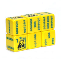 Panda Bear Bamboo - one pair of yellow dice with panda bear and bam designs