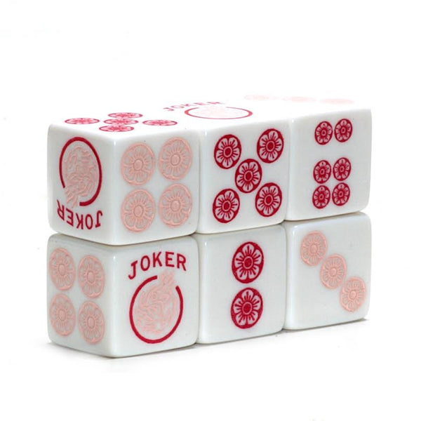 Searching for Bubble Gum Fisher - one pair of white 19mm dice with light and dark pink