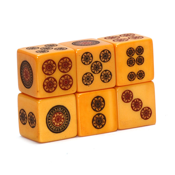 Bakelite limited edition Mahjong Dice - engraved & hand painted designs on vintage Bakelite