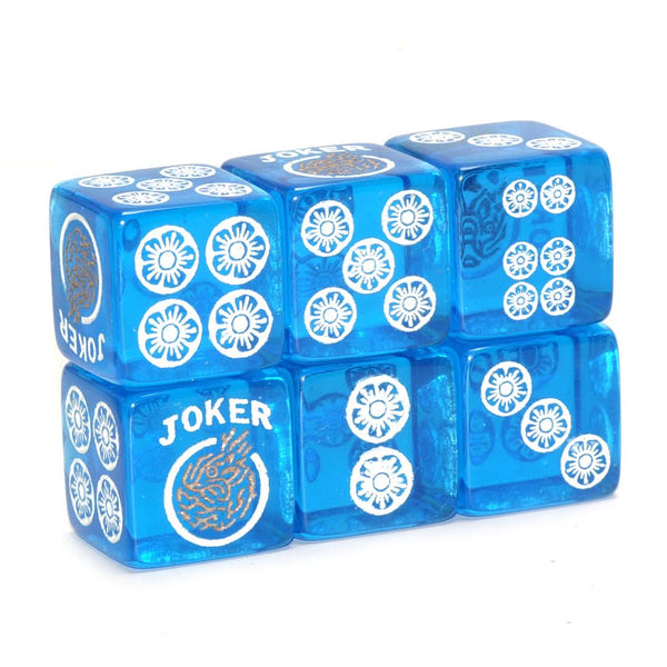 Clear Winner - one pair of translucent blue dice with white and gold