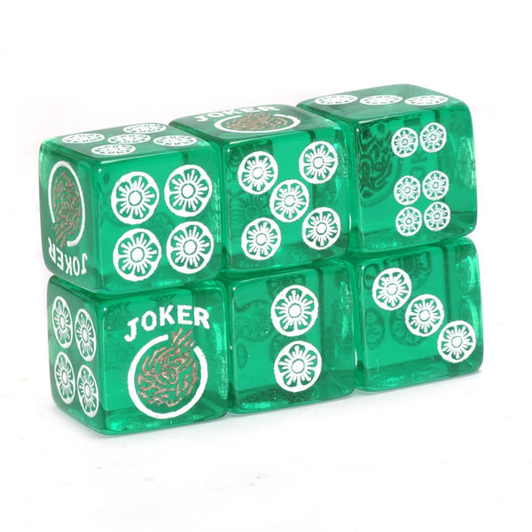 Clear Winner - one pair of translucent green dice with white and gold