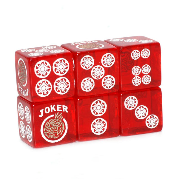 Clear Winner - one pair of translucent red dice with white and gold