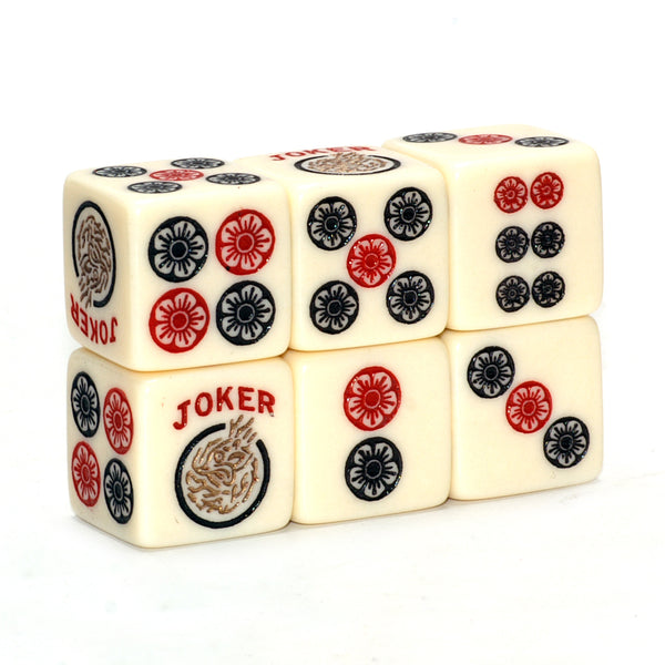 Golden Joker - one pair of ivory dice with red, black and golden accents