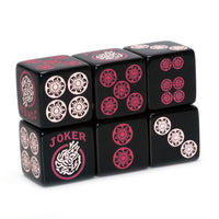 Searching for Bubble Gum Fisher - one pair of black 19mm dice with light and dark pink