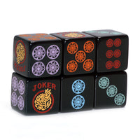 Rainbow Roll - the Sequel - one pair of slightly larger 19mm black dice with multicolors