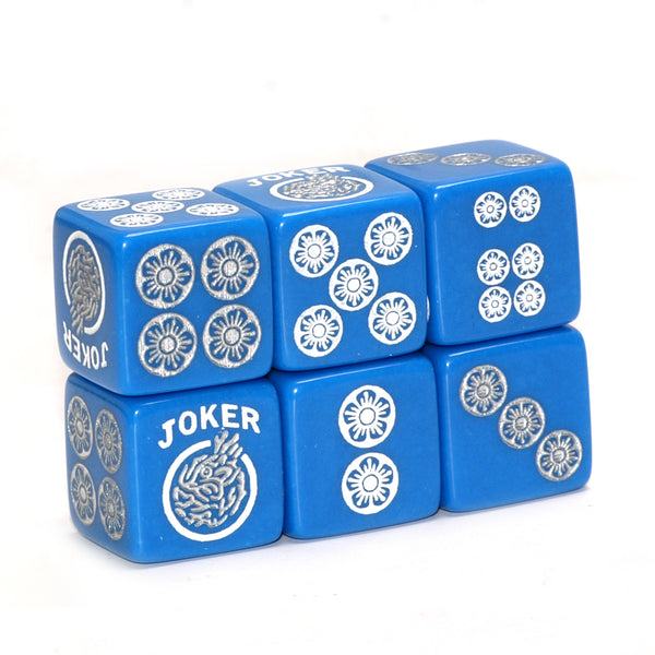 One Joker Away - one pair of blue dice with white and silver