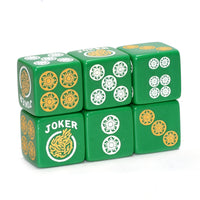 One Joker Away - one pair of green dice with white and yellow