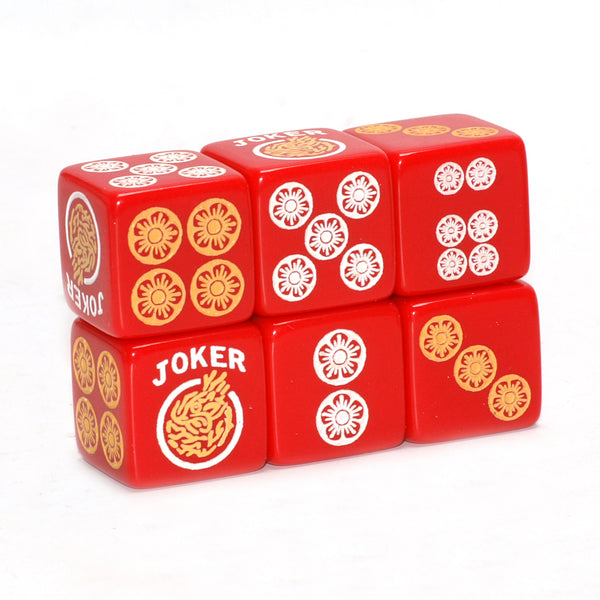 One Joker Away - one pair of red dice with white and yellow