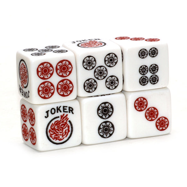 One Joker Away - one pair of white 19mm size dice with red and black