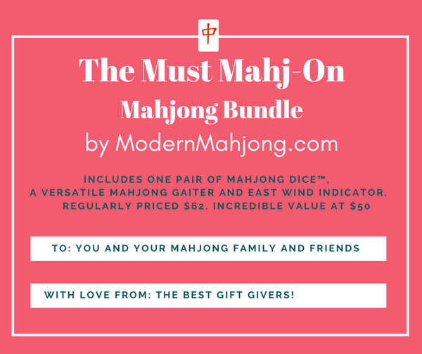 Must Mahj On Mahjong Bundle; One pair of Mahjong Dice™, Versatile Mahjong Gaiter and East Wind Indicator
