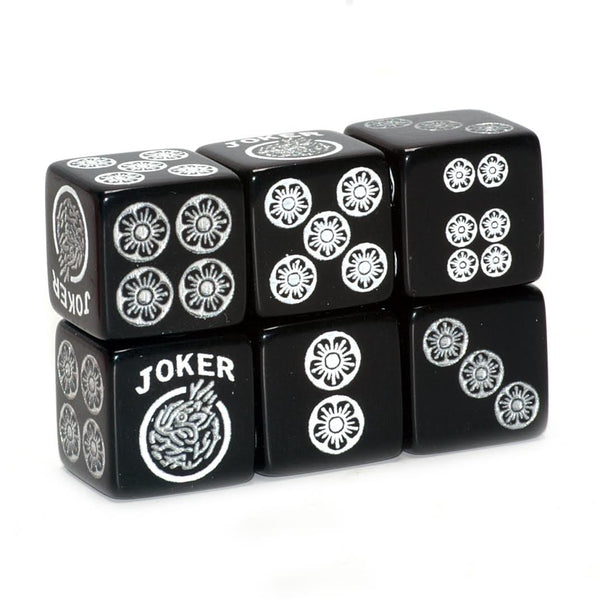One Joker Away - one pair of black dice with white and silver