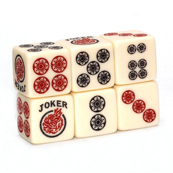 One Joker Away - One pair of ivory dice with red and black
