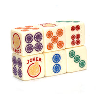 Rainbow Roll - one pair of standard 16mm ivory dice with multicolors