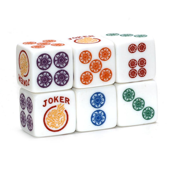 Rainbow Roll - one pair of slightly larger 19mm white dice with multicolors