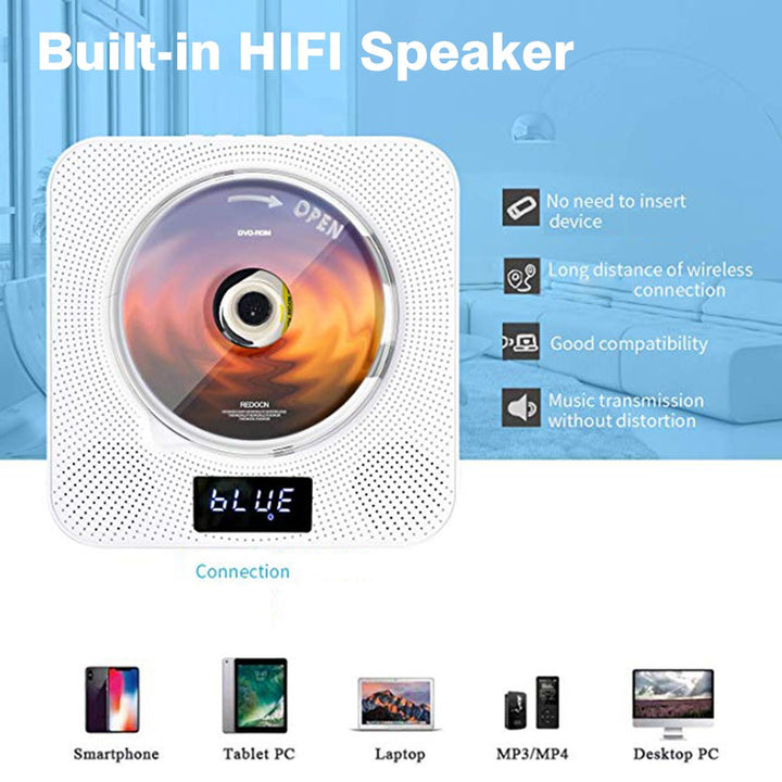 Wall Mountable HDMI DVD /CD Music Player with Remote Control