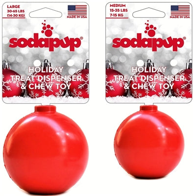SodaPup Christmas Ornament Durable Rubber Chew Toy & Treat Dispenser - Red
