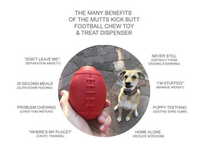 SodaPup - MuttsKickButt Rubber Football Chew Toy and Treat Dispenser
