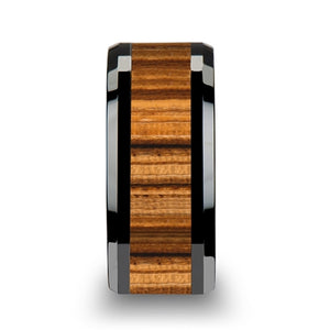 8 mm black Ceramic ring with a Zebra wood inlay and beveled edges