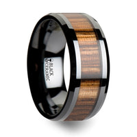 10 mm black Ceramic ring with a Zebra wood inlay and beveled edges